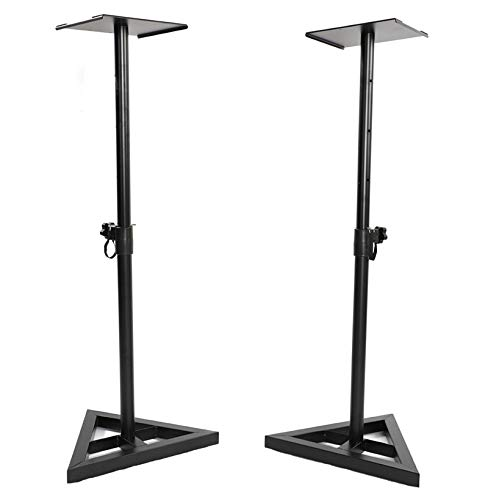 SPARSIFOLIA Speaker Stand; Adjustable Heavy Duty Tripod DJ PA Speaker Stands Monitor Stand Speaker Holder Musical Instrument Accessory with Carry Bag&Base; 2pcs; Black