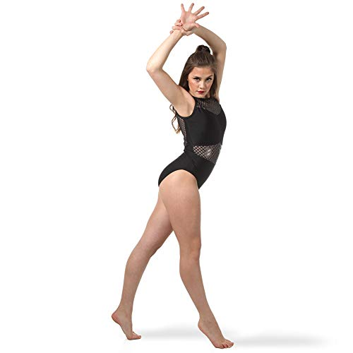 Alexandra Collection Black Sequin Mesh Dance Leotard for Women