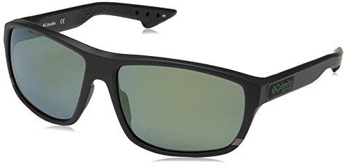 Columbia Gafas de sol ovales polarizadas Airgill Lite para hombre, negro mate / verde, 60 mm
