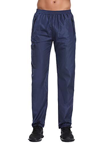 Abollria Herren Regenhose wasserdichte Sporthose Atmungsaktiv Windschutz Leichte Outdoor Überhose mit Zip Taschen,Navyblau,M