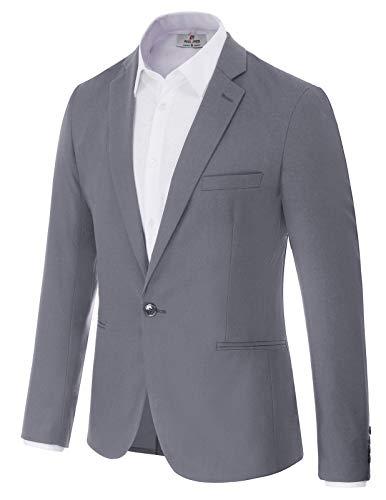 Men's Casual Lightweight Sport Coat Slim Fit Suit Blazer Jacket M Grey