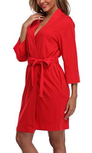 Old-Times Women's Cotton Kimono Robe Lightweight Short Christmas Robes House Coat Knit Bathrobe Red Medium