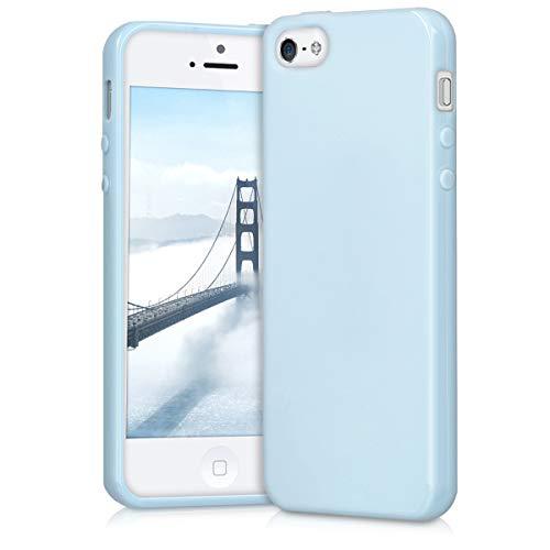 kwmobile Cover compatibile con Apple iPhone SE / 5 / 5S - Custodia in silicone TPU - Backcover protezione posteriore- blu chiaro matt