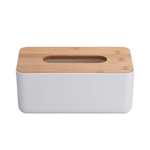 OUNONA Rectangular Facial Tissue Box Cover Holder with Wooden Cover for Home Office Bathroom Vanity Countertops