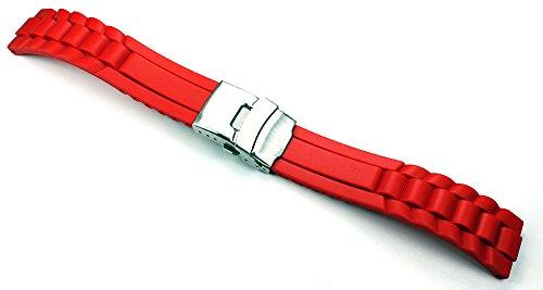 Sulla 22mm Herren Silikon Uhrenarmband Diver Sport Taucher mit Wellen AD