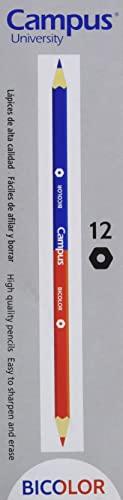 Campus University 20462 - Lapicero bicolor hexagonal, 12 unidades