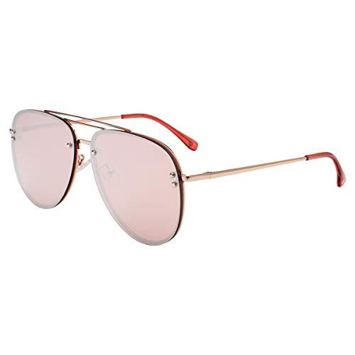 VIVIENFANG Occhiali da sole Oversize Aviator da donna, braccio flessibile, per donna, Be Fabulous 87247 Cornice oro rosa/oro rosa specchio lente rosa XL