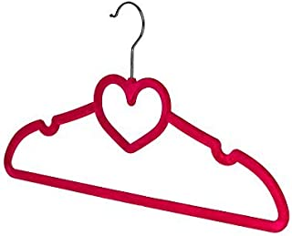 BriaUSA Clothes Hangers Heart Shaped Slim, Sturdy with Steel Swivel Chrome Hooks – Dark Pink – Box of 20