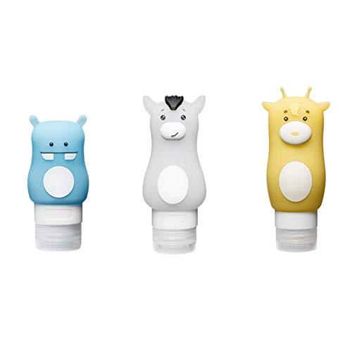 HYCOPROT 3 Teile/Satz Reiseflaschen Silikon Flasche Behälter Auslaufsicher Nachfüllbare Flüssigkeiten Toilettenartikel BPA FREI Sauger Tiere für Shampoo Lotion Duschgel Conditioner (Monster, 3 pcs)