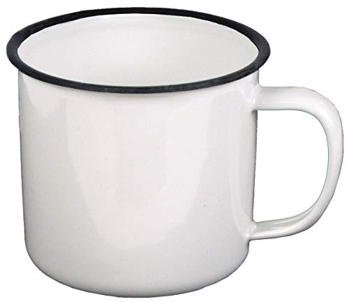 MFH Emaille-Tasse, weiß-schwarz, 350 ml, Durchmesser 8 cm