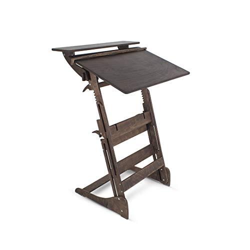 Stehpult Stehtisch Typ HDD - Holz - Tisch höhenverstellbar - Gestell und Tischplatte Nussbaum dunkel - Adjust Standing Desk - Kontorka