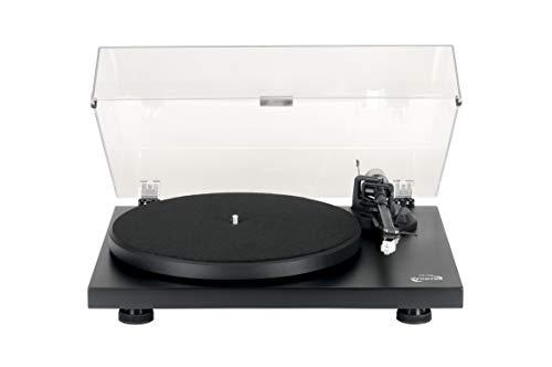 Dynavox HiFi-Plattenspieler PS-300 mit Riemenantrieb, mit abschaltbarem Entzerrer/Vorverstärker und Antiskating, vormontierter Tonabnehmer (AT-3600L), Strukturlack schwarz