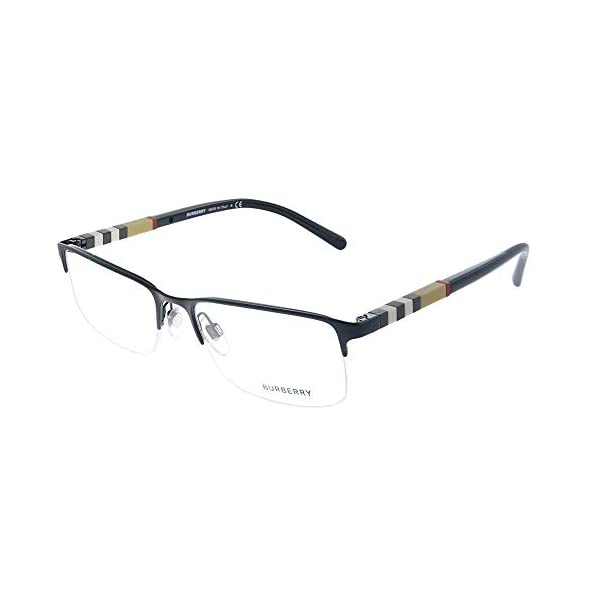 Burberry BE 1282 1001 Black Palladium Metal Semi-Rimless Eyeglasses 55mm