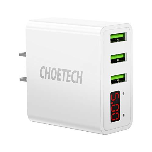 CHOETECH USB Cargador Pared Pantalla LED 3-Puertos Wall Charger para iPhone XS/XR/XS MAX/ 8/8 Plus,…