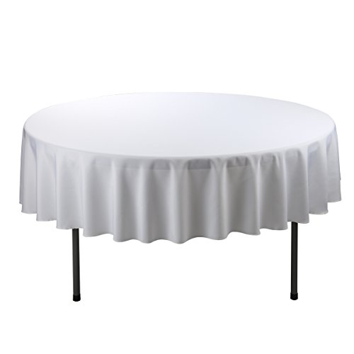 E-TEX Round Tablecloth – 70 Inch – White Round Table Cloth for Circular Table in Washable Polyester