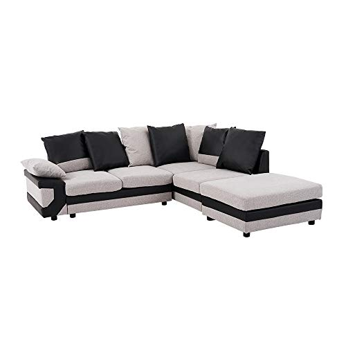 Panana 4 Seater Sofa L Shaped Corner Group Sofa Fabric and Leather Upholstered Sofa Settee Left or Right Chaise Couch with Footstool for Living Room (Grey and Black)