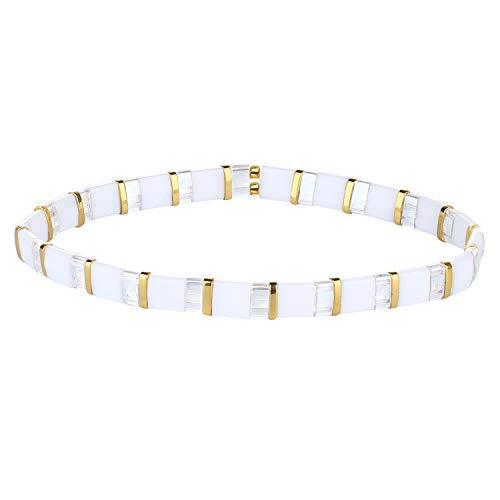 KANYEE Bracelets D'amitié Bracelets Extensibles en Perles Tila Boho Bracelets Réglables Vintage pour Femmes – 8B