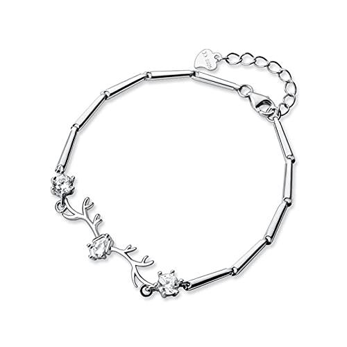 N/A Pulsera de plata S925 para mujer de San Valentín pequeña y fresca, con cuernos de diamante blanco de seis garras de diamante blanco de una sola palabra, pulsera de aniversario, día de la madre, regalo de cumpleaños