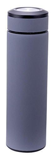 Culinario Thermoflasche mit Tee-Einsatz, aus Edelstahl/Kunststoff, doppelwandig, trendiges Design, 0,48 Liter, in grau