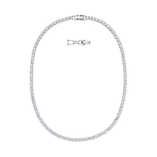 Swarovski Tennis Deluxe Halskette, Rhodinierte Damenhalskette mit Funkelnden Swarovski Kristallen