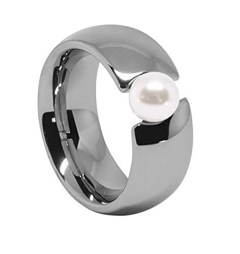 Heideman Ring Damen Perlschmuck aus Edelstahl Silber farbend poliert Damenring für Frauen mit Swarovski Perle 6mm Spannring Ohrringe Weiss Gr.52 hr2321-3-11-52