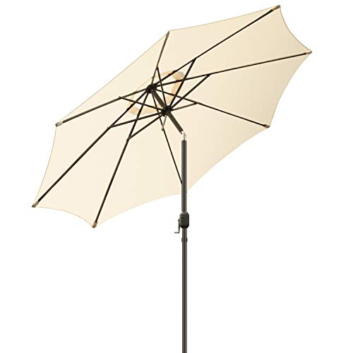 MVPower Sonnenschirm, 2,7m Sonnenschirm rund, Gartenschirm mit 8 Stahlverstrebungen und Kurbel, Marktschirm Terrassenschirm für Garten, Balkon, Terrasse, 180 g/m², regendicht, UV-Schutz 50+, Beige