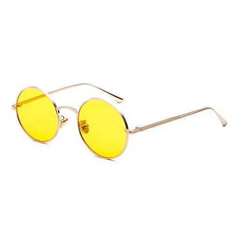 Inlefen Runde Metallrahmen Gläser Vintage Kreis Sonnenbrille für Männer und Frauen,Goldgelb,57