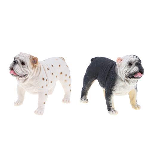 sharprepublic de Modelo de Bulldog Realista de 2 Piezas, Juguete para Niños de Bulldog Británico