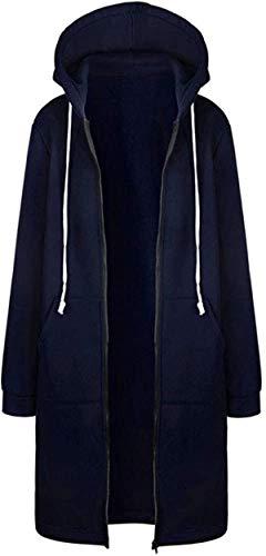 Sudadera con capucha para mujer, con cremallera abierta, abrigo largo, chaqueta deportiva