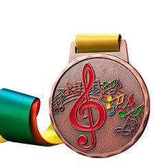 Watermzk Medallas de bronce profesionales personalizadas, para ganador de la música, grabado logotipo personalizado, 3er premios, 2.75 pulgadas de ancho medallones, con cinta de cuello, (música)..