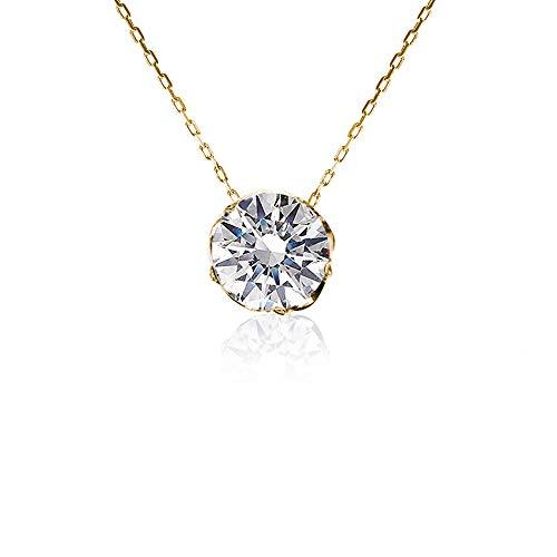 PLUSTER スワロフスキー ネックレス一粒 シルバー925 純銀製 ゴールド (チェーン 最大約45cm長さ調整可) [ギフトボックスセット]スワロフスキージルコニア