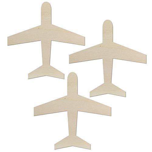 Kleenes Traumhandel - Avión – Decoración de dormitorio hasta 60 cm de longitud de madera para pared o puerta (juego de 3 unidades de 10 cm de longitud).