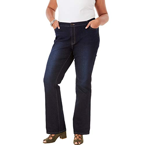 Roamans Women's Plus Size Bootcut Jean with Invisible Stretch - Dark Wash, 26 W