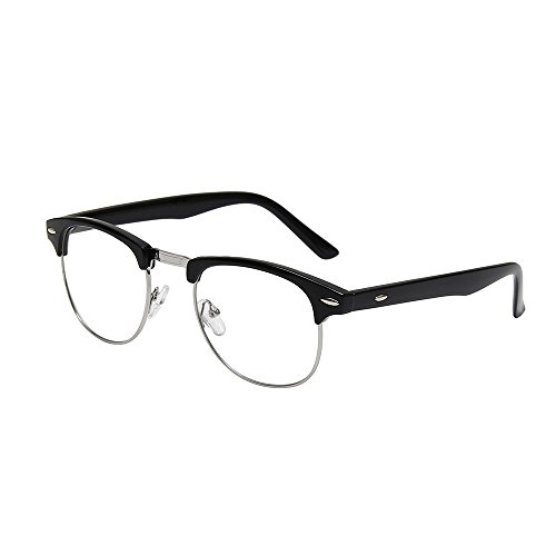 Shiratori New Vintage Fashion Half Frame Semi-Rimless Clear Lens Glasses Black
