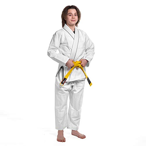 KO Sports Gear Foundation Gi for Kids - Hemp Blend - BJJ Kimono and Pants - for Jiu Jitsu (M4)