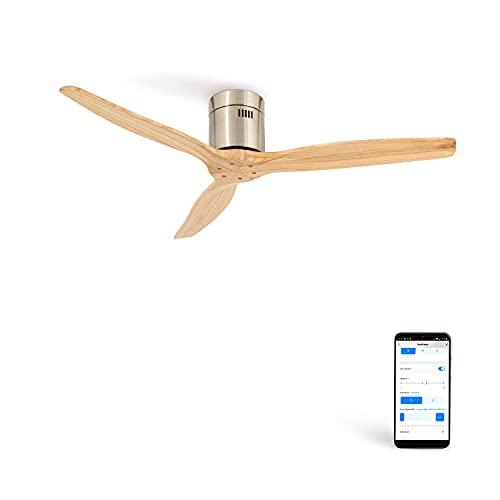 IKOHS AIRCALM DC - Ventilador Techo Ultrasilencioso con Función Invierno - Verano (Niquel madera natural Wifi)