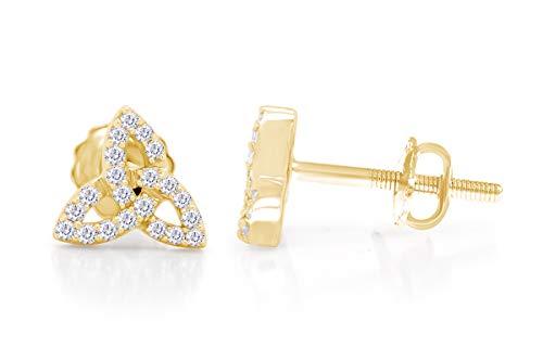 1/10 Cttw Natural Genuine Diamond 10k Yellow Gold Celtic Knot Infinity Pave Diamond Screw Back Women Ladies Studs Earrings
