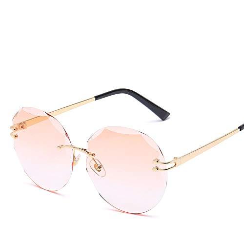 Summer Marine Fashion Stijlvolle randloze zonnebril voor dames Ronde coole bril Trend Optische UV400-bril Oranje