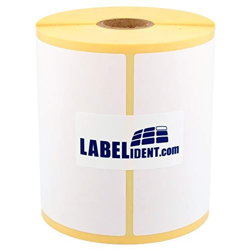 Labelident Thermo Etiketten Eco auf Rolle - 100 x 100 mm - 1000 BPA-freie Thermodirekt Etiketten auf 1 Zoll Rolle für Desktopdrucker, selbstklebend