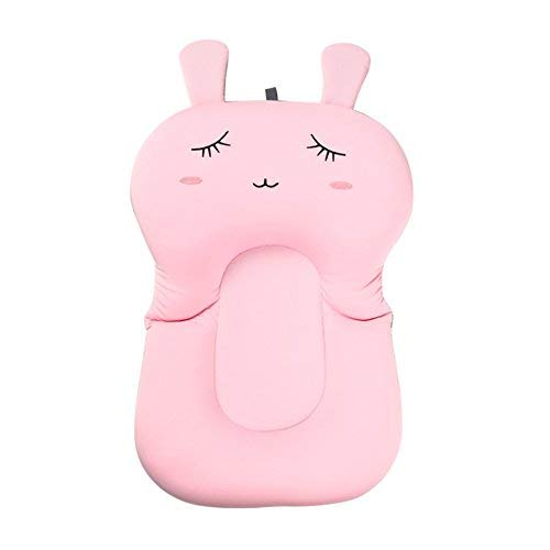 Moonvvin Baby-Badekissen, weiches Badewannenkissen und -Liege für Neugeborene Pink Rabbit Without Hook