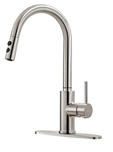 Matte Black Kitchen Faucet, Black Faucet, Kitchen Sink Faucet, Pull-Down Kitchen Faucets, Bar Kitchen Faucet, Stainless Steel, Sink Faucet, RB1031 Mimitool (Color : Brushed Nickel)