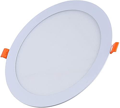 FactorLED ¡OFERTA! Downlight LED OSRAM 20W Slim, Placa Circular Empotrable, Panel Redondo Extraplano 2000 lúmenes, Corte techo Φ205mm, [Clase de eficiencia energética A++] (Luz Natural (4000K))