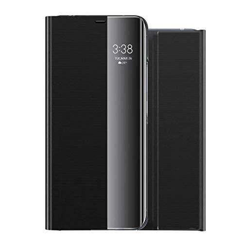 Handyhülle für Huawei P30 Handy Schutzhüllen Spiegel PU Leder Clear View PC Standfunktion Cover 360 Grad Stoßdämpfung Hülle Kratzfeste Flip Case Slim Tasche