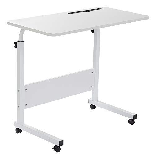 Grandma Laptop-Tisch mit Hai-Motiv, stehend, höhenverstellbar, Computer-Schreibtisch mit Handy-, Tablet-PC-Steckplatz, beweglich mit Rollen, tragbarer Beistelltisch für Bett, Sofa, weiß, 80×40