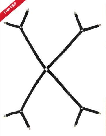 Xinapy Bettlakenhalter Gurte Verstellbare Kreuzbett-Dreiecks-Hosenträger mit Greifer