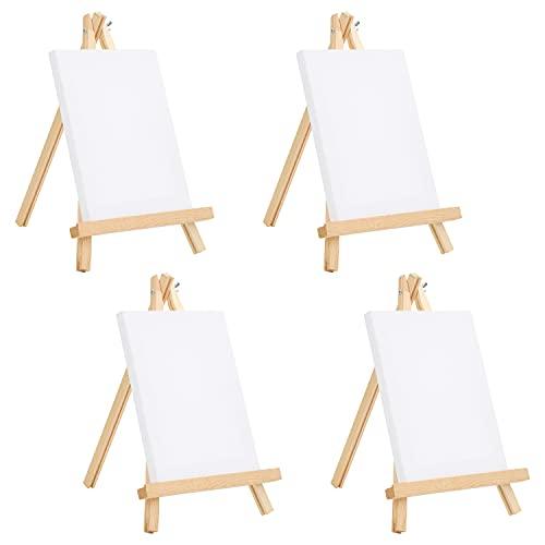 BELLE VOUS Mini Leinwand mit Holz Bildhalterung Ständer Tisch Staffelei (4er Pack) - L 20 cm x B 15 cm - Vorgespannte, Grundierte Leere Leinwand - Mit Leinwand Ständer für...