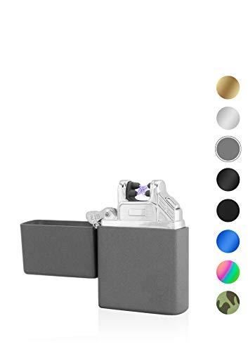 TESLA Lighter T03 Lichtbogen-Feuerzeug, elektronisches USB Feuerzeug, Double-Arc Lighter, wiederaufladbar, matt Grau