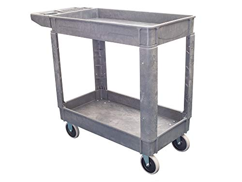 Pake Handling Tools Heavy Duty Utility Cart - Plastic 2 Shelves Rolling Cart with Wheels- 550 lbs Capacity, 31
