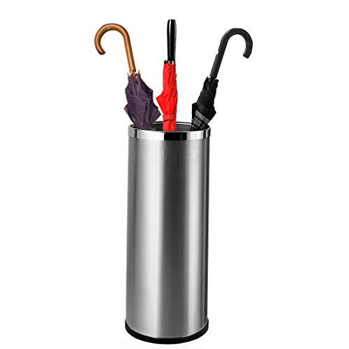 """Bennett Umbrella Stand - Umbrella Holder for Entryway with Removable Inner Bucket 24"""" Tall - Stainless Steel Sturdy Metal Rack - Indoor Hallway Home Décor Office - Holds Umbrellas Canes Walking Stick"""