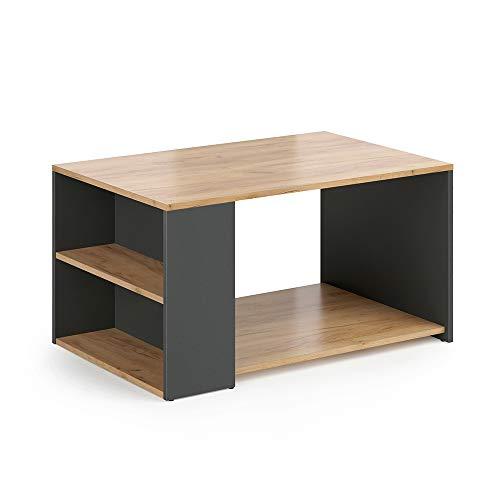 Vicco Tavolino da divano Dario Tavolino da salotto Antracite quercia 90x60
